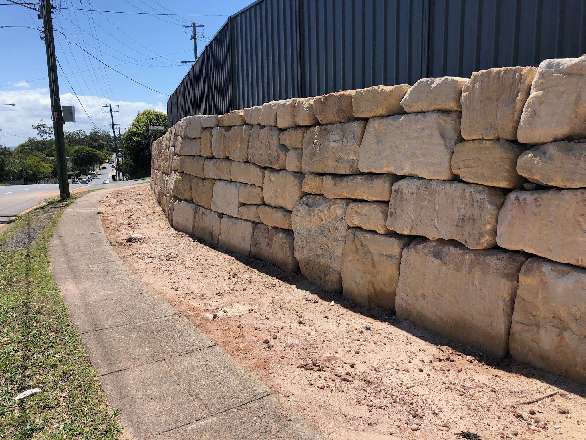 An example of C grade sandstone retaining wall