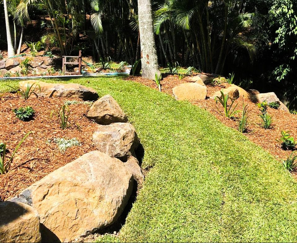 Natural basalt garden edging