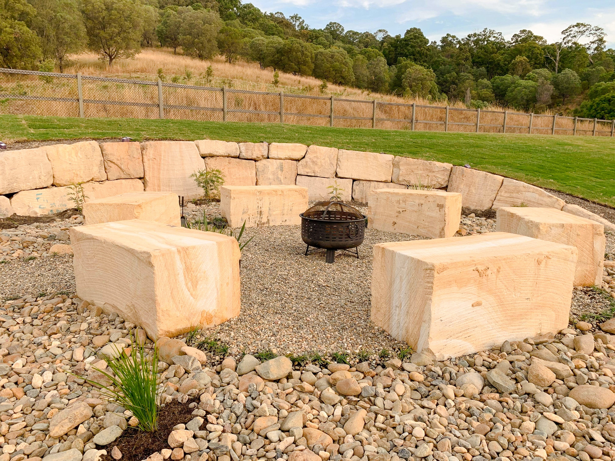 Sandstone fire pit and seating