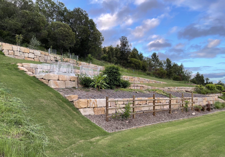 multi tier c grade sandstone rock wall