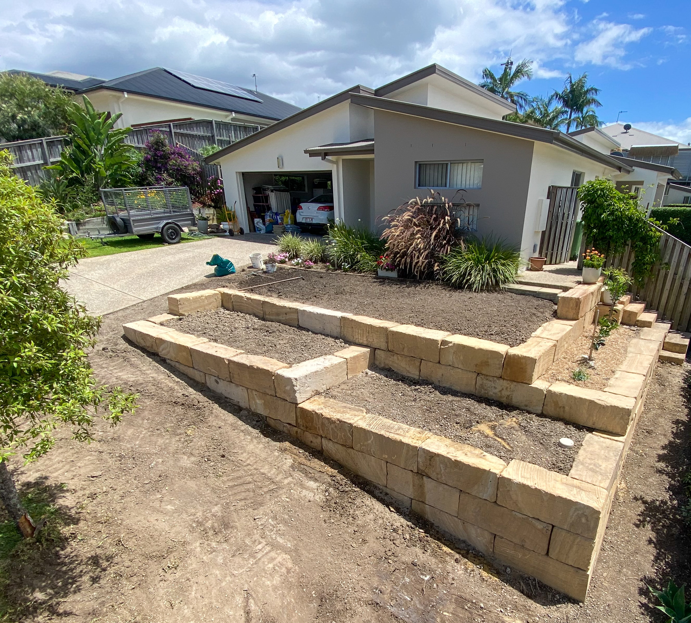 Garden beds created with A grade sandstone
